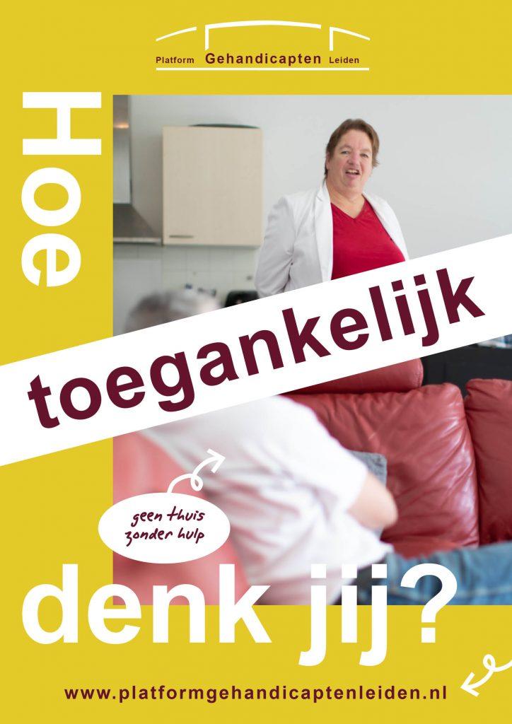 """Poster van de campagne """"Hoe toegankelijk denk jij?"""" Op de poster staat Angenita. Zij woont met een klein beetje hulp zelfstandig."""